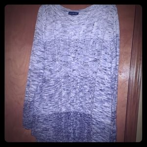 White, navy and black hombre cable knit sweater